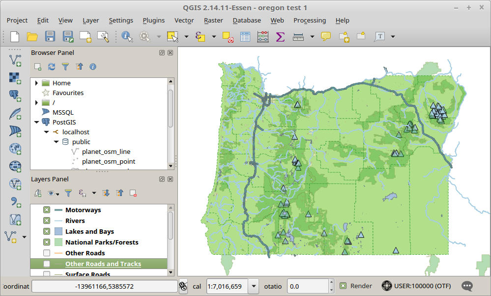 Screenshot of the QGIS application, showing a map of Oregon with roads, rivers, and mountains highlighted