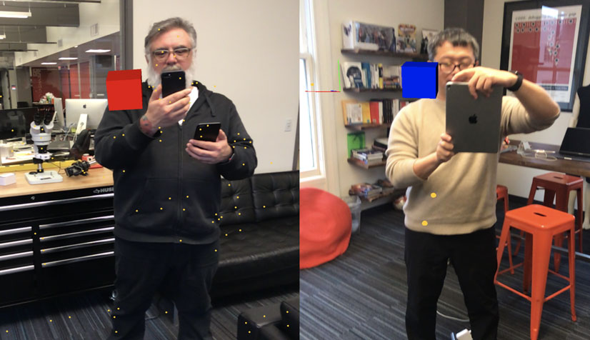 Two Toads using iPads to play a multi-player AR game