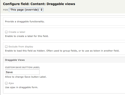 Configure the draggable field as needed