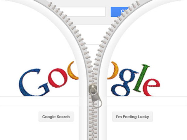 Google logo being unzipped