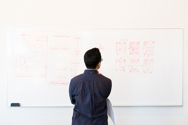 Person standing at whiteboard observing flow charts