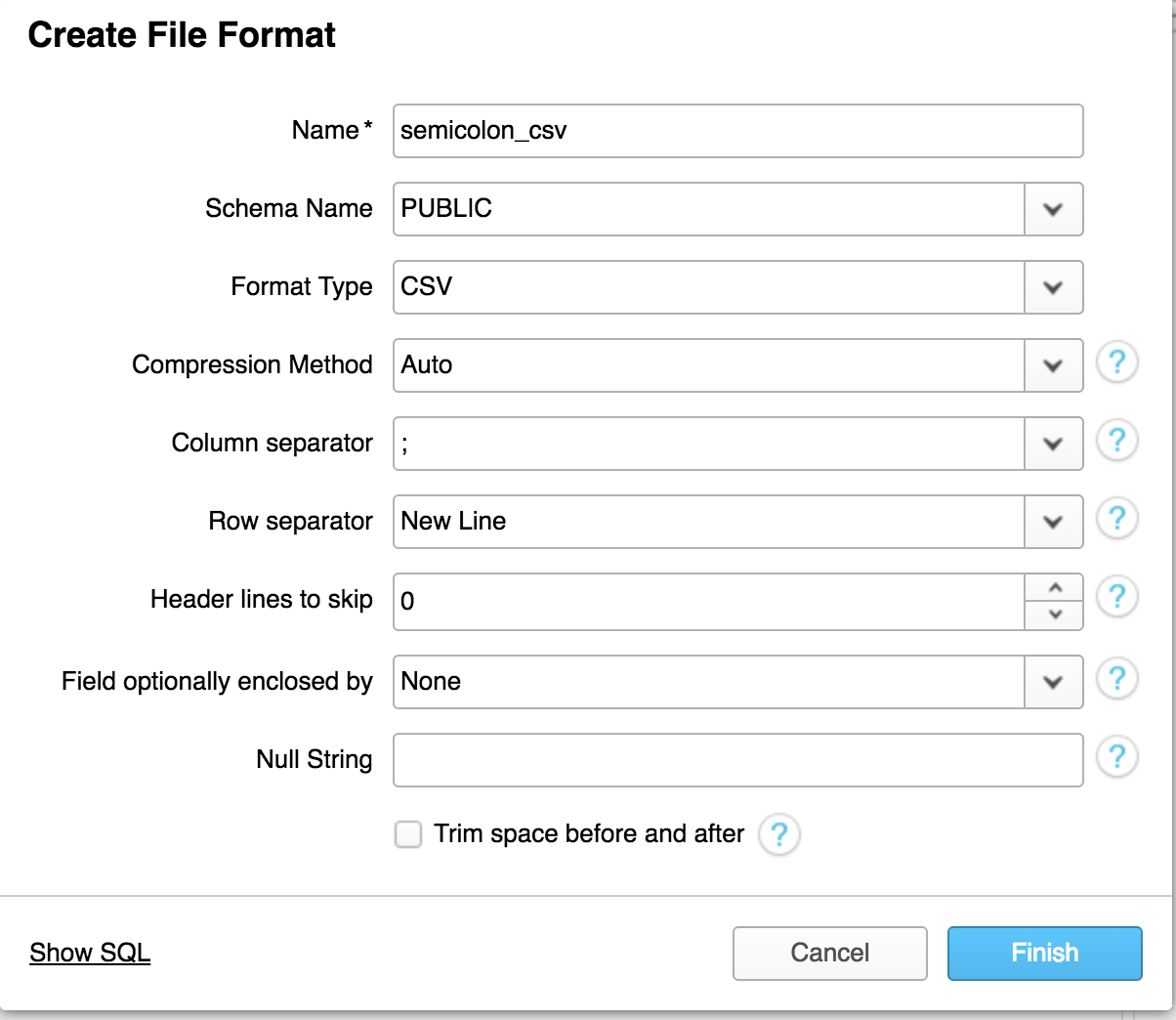 File Format creation screenshot
