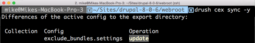 Using terminal to export Drupal 8 custom configurations