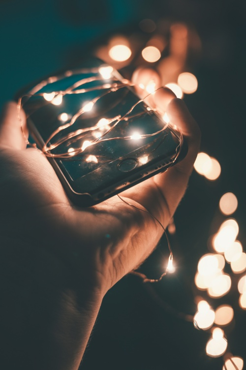Phone with string lights
