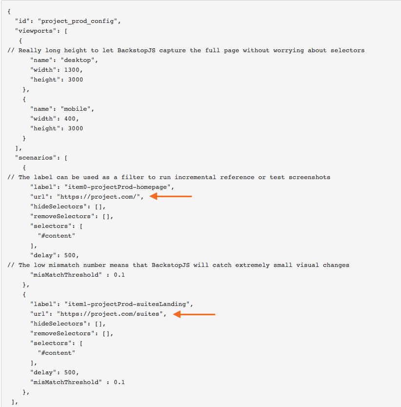 Screenshot of the JSON configuration file for my BackstopJS setup.