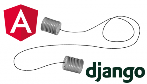 Angular and Django logos connected by cans on a string