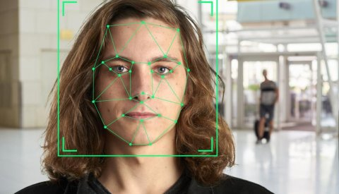 A face with structure mapped by facial recognition