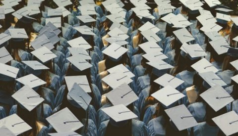 Graduates lined up with their caps