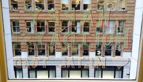 B2B Communication. By Writing on Windows. With Markers.