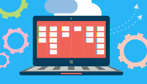 illustration of a computer with a kanban board on the screen and a cloud above it