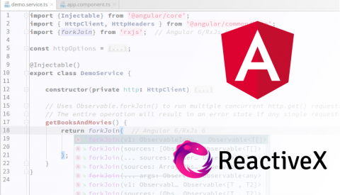 Screenshot of code with Angular and ReactiveX logos