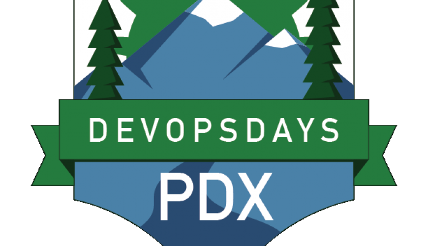 "Logo for DevOpsDays PDX 2017. A mountain range and fir trees are placed in the shape of a shield, and a banner overlays it with the words ""DevOpsDays PDX""."