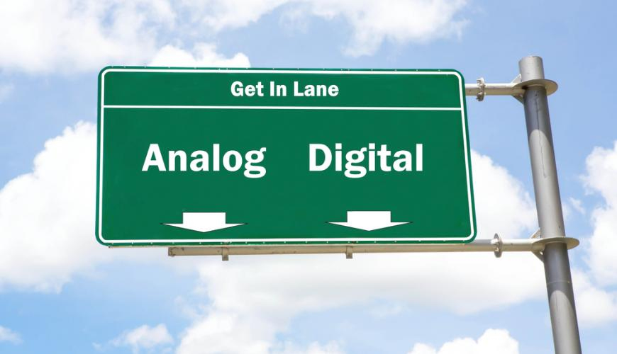 Road sign: analog or digital
