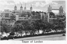 Old postcard of the Tower of London