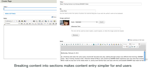 Breaking content into sections makes content entry simpler for end users